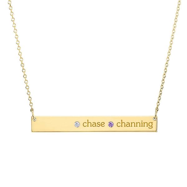 14K Gold Skinny Bar Necklace - 2 Names & 2 Stones