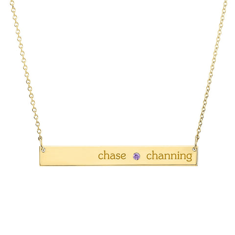 14K Gold Skinny Bar Birthstone Necklace - 2 Names & 1 Stone