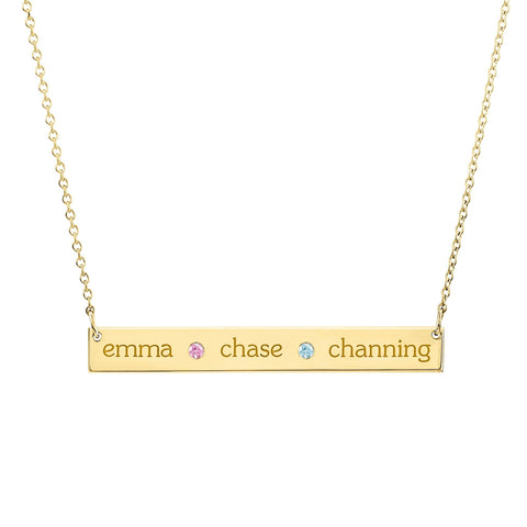 Image of 14K Gold Skinny Bar Birthstone Necklace - 3 Names & 2 Stones