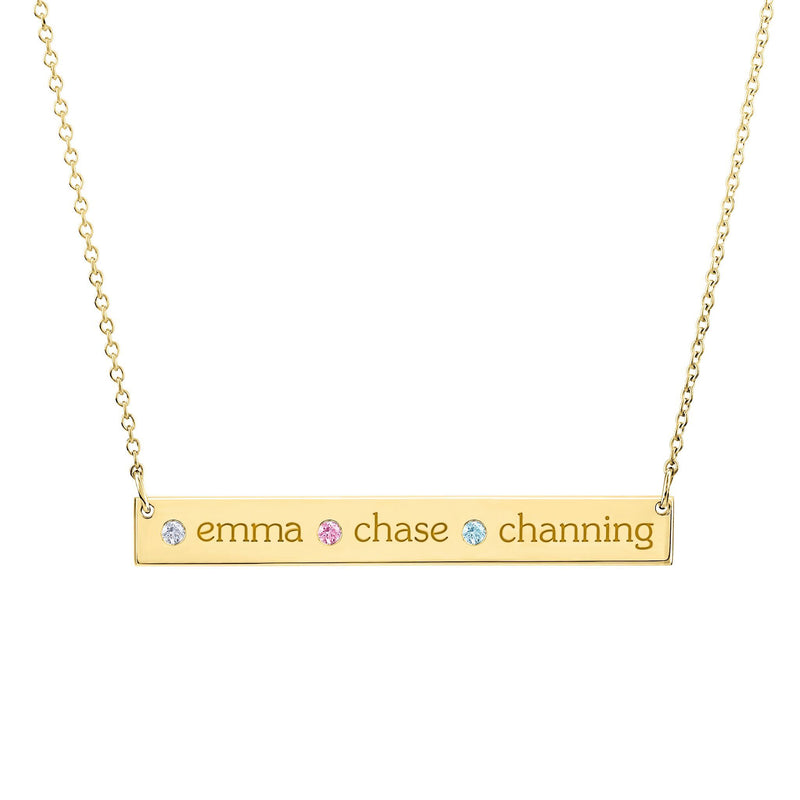 14K Gold Skinny Bar Necklace - 3 Names & 3 Stones