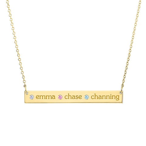 Gold Skinny Bar Necklace - 3 Names & 3 Stones