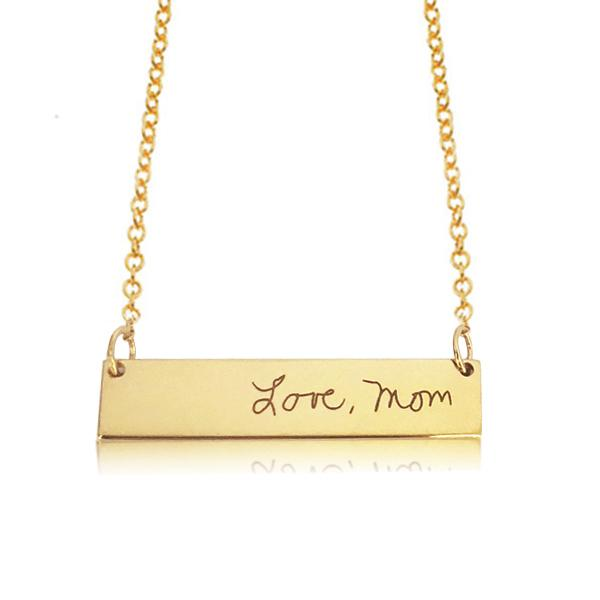 Gold Handwritten Bar Necklace - tinytags