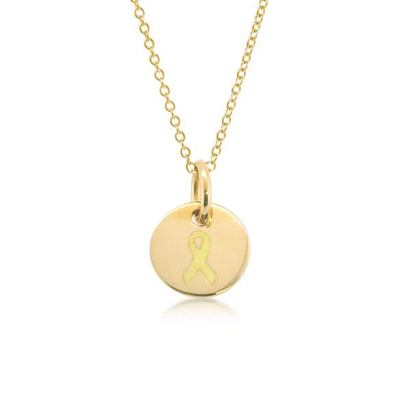 Gold Childhood Cancer Ribbon Charm Necklace
