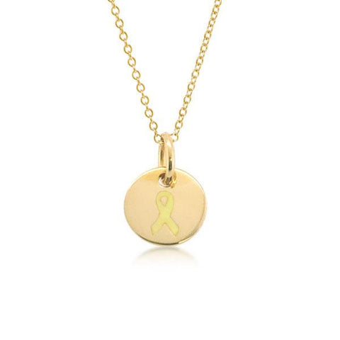 Image of Gold Childhood Cancer Ribbon Charm Necklace