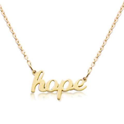 14K Gold hope Script Nameplate Necklace