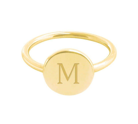 14k Gold Initial Signet Ring