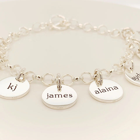 Sterling Silver Family Bracelet - 1 to 10 Tags