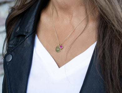 October Birthstone Charm - Pink Tourmaline