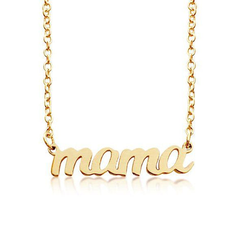 14K Gold Script mama Nameplate Necklace
