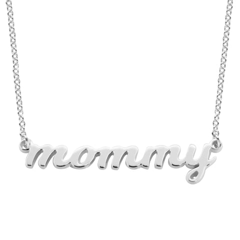 14k Gold Script mommy Nameplate Necklace