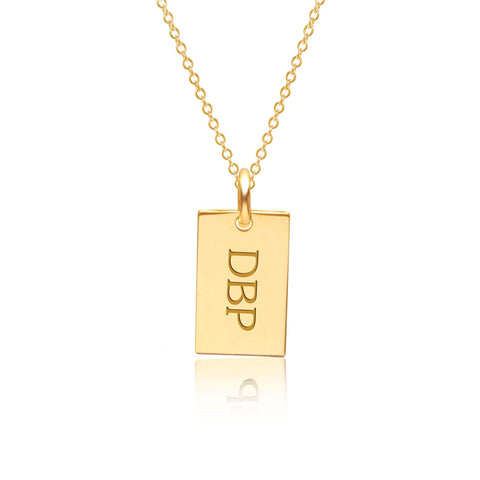 Image of Gold Monogram Dog Tag Necklace