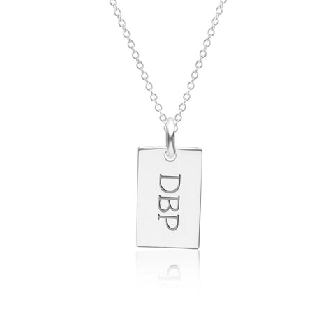 14k Gold Monogram Dog Tag Necklace
