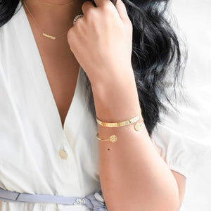 Gold Signet Bangle