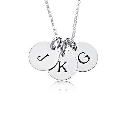 Sterling Silver Initial Necklace -3 Circles - Uppercase