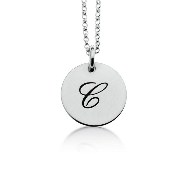 Sterling Silver Script Initial Necklace - tinytags