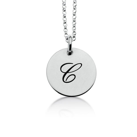 Image of Sterling Silver Script Initial Necklace - tinytags