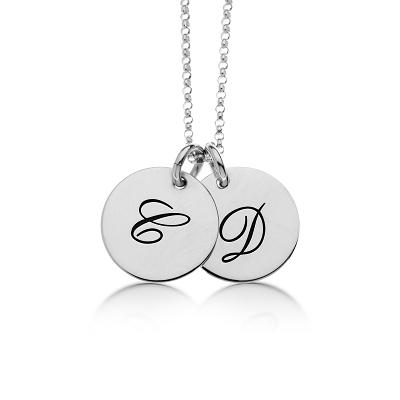Sterling Silver Script Initial Necklace 2 Circles - tinytags