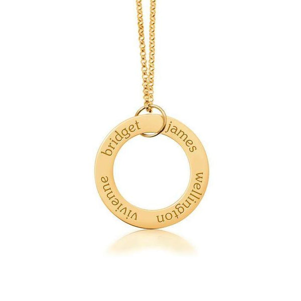 14k Gold Circle Pendant 4 Names - tinytags