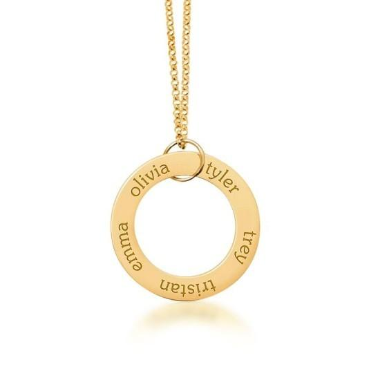 14k Gold Circle Pendant 5 Names - tinytags