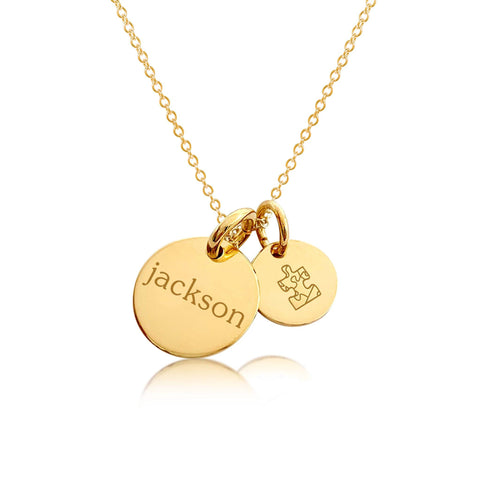 14k Gold Autism Charm Necklace