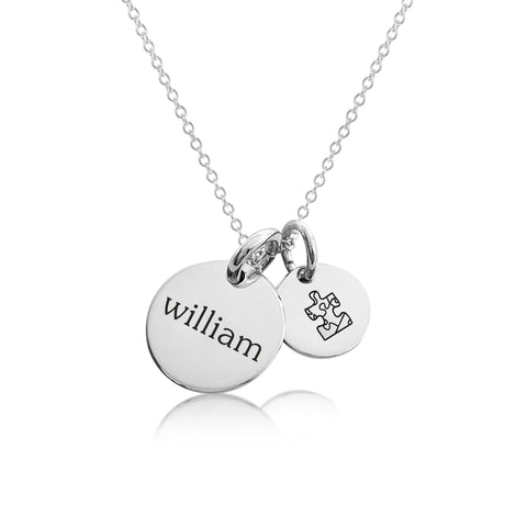 Sterling Silver Autism Charm Necklace