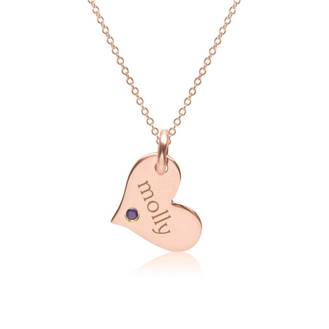 14k Gold Heart Necklace with Birthstone