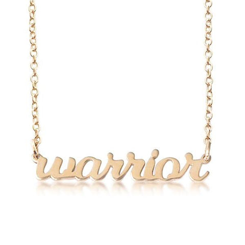 Gold Script warrior Nameplate Necklace