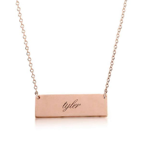 Image of 14k Gold Bar Script Necklace