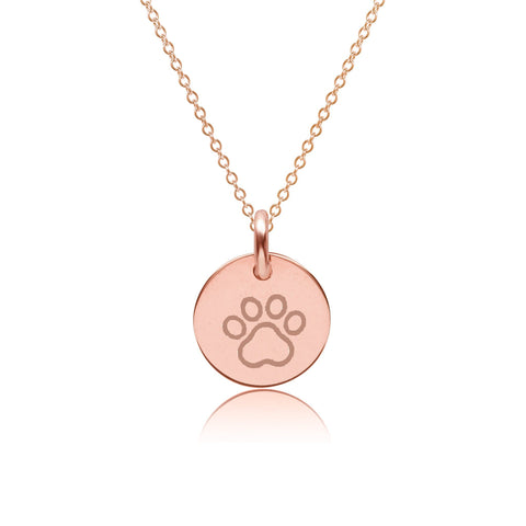 14k Gold Paw Print Charm Necklace