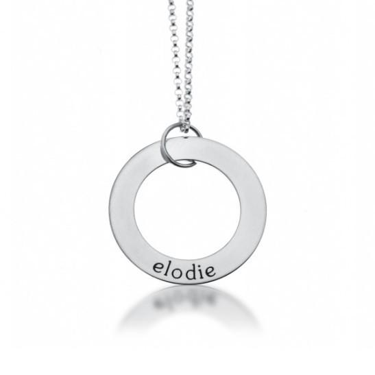 Sterling Silver Circle Pendant - 1 Name