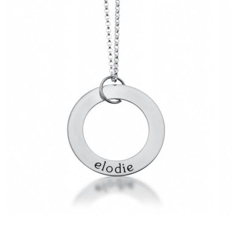 Sterling Silver Circle Pendant 1 Name