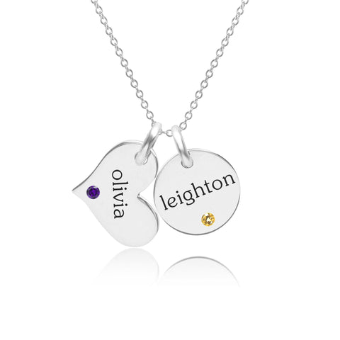 Image of Sterling Silver Circle & Heart Necklace With Birthstones