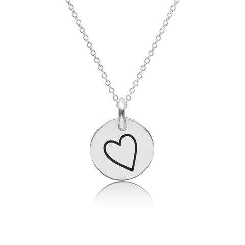 Image of Sterling Silver Perfectly Imperfect Heart Charm Necklace