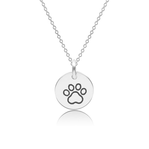 Sterling Silver Paw Print Charm Necklace