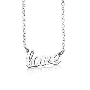 "Sterling Silver Script ""love"" Nameplate Necklace - tinytags"