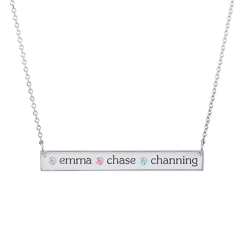 Sterling Silver Skinny Bar Birthstone Necklace - 3 Names & 3 Stones