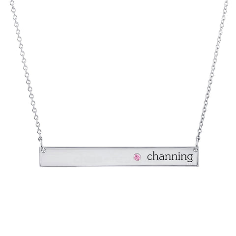 Sterling Silver Skinny Birthstone Bar Necklace - 1 Name & 1 Stone