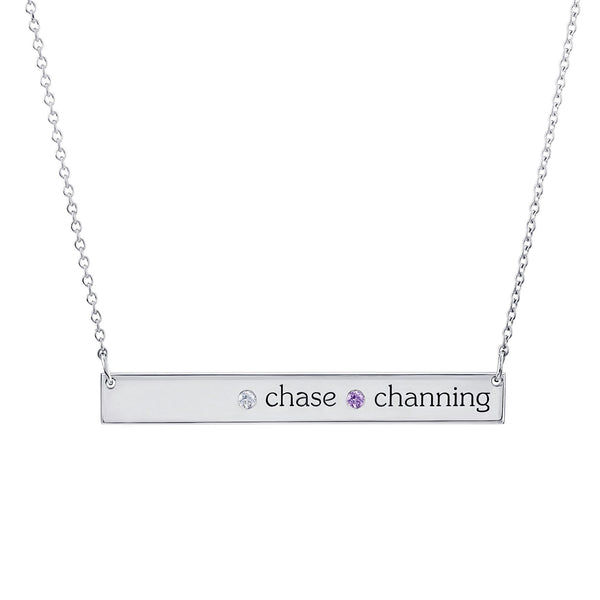 Sterling Silver Skinny Bar Necklace (2 names + 2 stones)