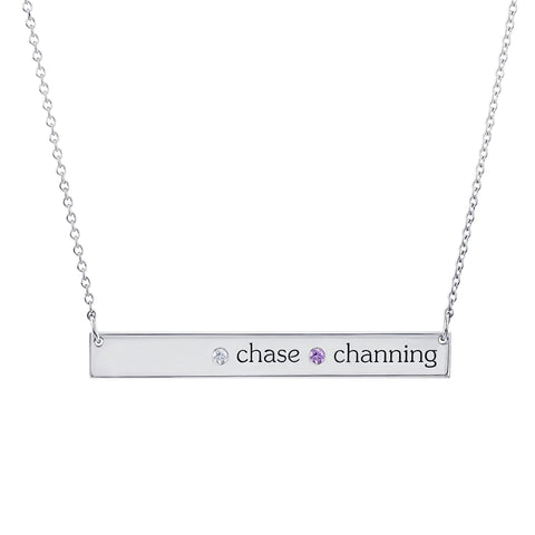 Sterling Silver Skinny Bar Necklace - 2 Names & 2 Stones