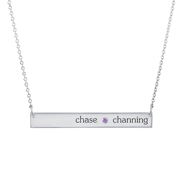 Sterling Silver Skinny Bar Birthstone Necklace - 2 Names & 1 Stone