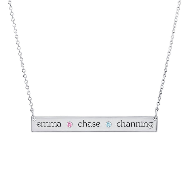Sterling Silver Skinny Bar Birthstone Necklace - 3 Names & 2 Stones