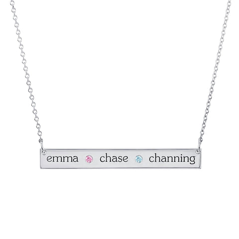 Image of Sterling Silver Skinny Bar Birthstone Necklace - 3 Names & 2 Stones
