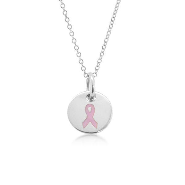 Sterling Silver Breast Cancer Ribbon Charm Necklace