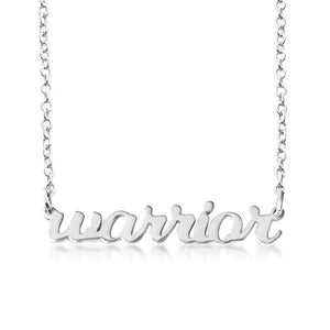 Sterling Silver Script warrior Nameplate Necklace