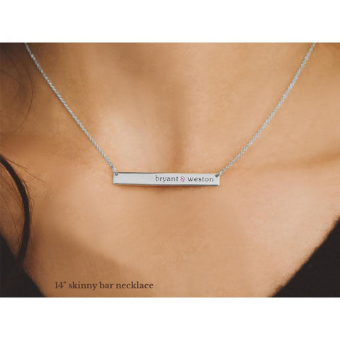 Image of Sterling Silver Skinny Bar Birthstone Necklace - 2 Names & 2 Stones