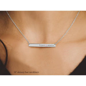 Sterling Silver Skinny Bar Birthstone Necklace - 2 Names & 2 Stones