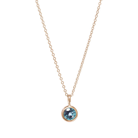 December Birthstone Necklace - Blue Topaz