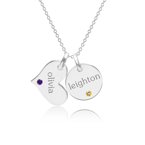 14k Gold Circle & Heart Necklace With Birthstones