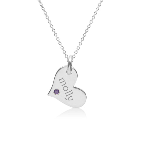 Image of 14k Gold Heart Necklace with Birthstone
