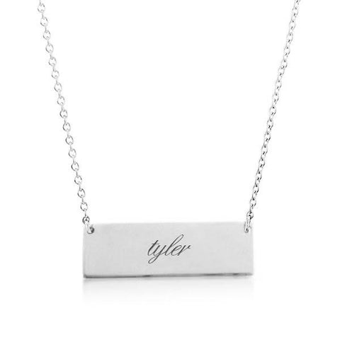 14k Gold Bar Script Necklace